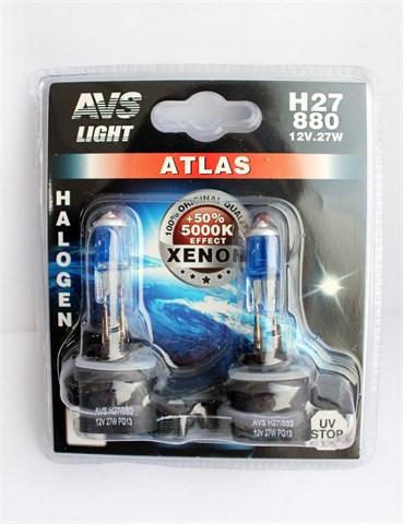 Лампа автомобильная галогенная AVS Atlas H27/2 12V 27W 2шт. - фото 23898