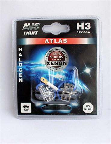 Лампа автомобильная галогенная AVS Atlas Н3 12V 55W 2шт. - фото 23900