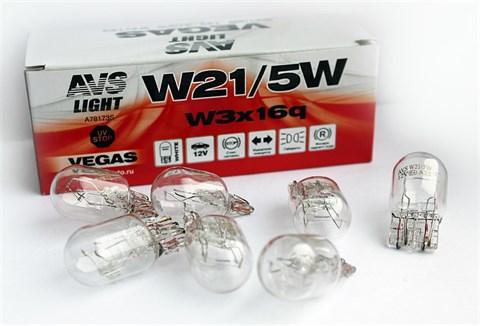 Автолампа габаритов и стоп сигналов AVS Vegas W21/5W 12V 5W 10шт. - фото 23959