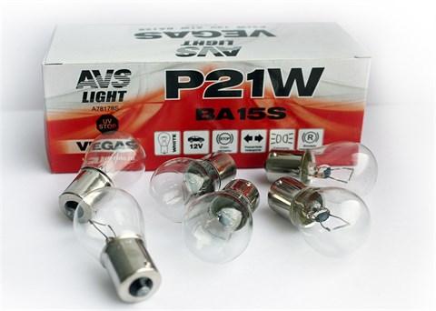Автолампа габаритов и стоп сигналов AVS Vegas P21W 12V 21W белый 10шт. - фото 23971