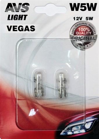Автолампа габаритов и стоп сигналов AVS Vegas W5W 12V 5W 2шт. - фото 23991