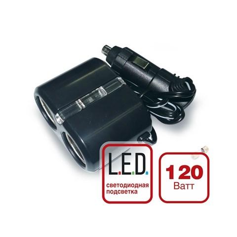 Разветвитель прикуривателя 12/24 (на 2 выхода) CS 204 со светодиодной подсветкой - фото 24795