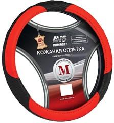 Оплетка на руль (нат. кожа) AVS GL-910M-BRD (размер M, черная-красная)